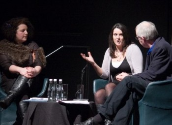 Farah Abushwesha and Gillies Mackinnon share feedback with a writer at the latest new writing forum.