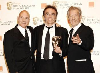 Danny Boyle with Sir Ian McKellen and Patrick Stewart at the Orange British Academy Film Awards in 2009