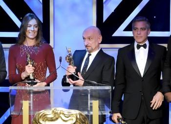 Honourees Kathryn Bigelow, Ben Kingsey and George Clooney on the Britannia Awards stage