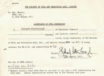Lord Attenborough's SFTA Application Form.