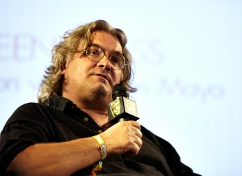 July 17: Paul Greengrass, director of the Bourne Supremacy, The Bourne Ultimatum and most recently Green Zone on stage in the Film Arena (Picture: Jonathan Birch)