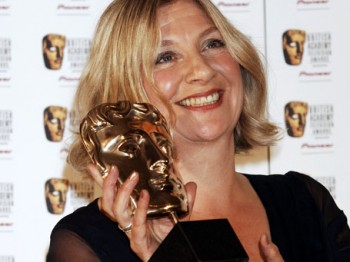 Victoria Wood celebrates the first of two BAFTA wins at the British Academy Television Awards in 2007.