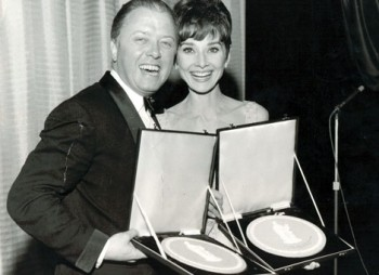Richard Attenborough and Audrey Hepburn.