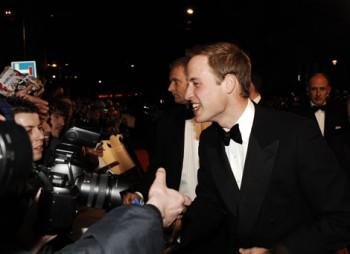 HRH Prince William talks to film fans on the Orange British Academy Film Awards red carpet (BAFTA/Richard Kendal).