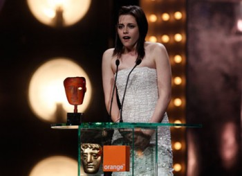 Star of the Twilight Saga Kristen Stewart accepts her award as the Orange Rising Star, as voted by the British public (BAFTA/Brian Ritchie).