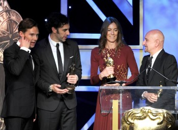 Honourees Benedict Cumberbatch, Sacha Baron Cohen, Kathryn Bigelow and Ben Kingsley on the Britannia Awards stage