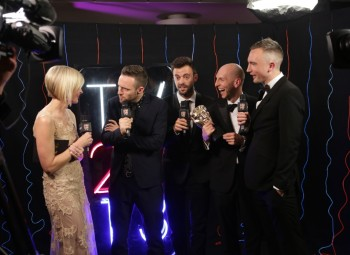 Backstage at the Arqiva British Academy Television Awards in 2013