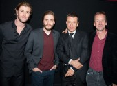 Chris Hemsworth, Daniel Brühl, Writer Peter Morgan and Producer Andrew Eaton