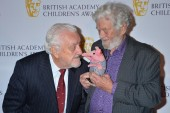 God only nose what legendary performer Bernard Cribbins is saying to this visiting Clanger, held by their creator Peter Firmin