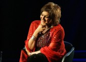 Meera Syal on stage at BAFTA headquarters in March 2008.