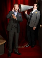 Alexander Armstrong and Ben Miller pose for the Television Awards comedy photoshoot in 2010.