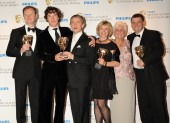 Writer Mark Gatiss, actors Benedict Cumberbatch and Martin Freeman, producers Sue Vertue and Beryl Vertue and writer Steven Moffat. (Pic: BAFTA/Richard Kendal)