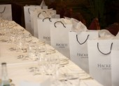 The tables are set for a special pre-Film Awards lunch at The Savoy in London, hosted by menswear designer Hackett.