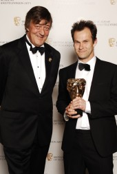 Stephen Fry presented the coveted Writer BAFTA to Peter Moffat for Criminal Justice (BAFTA / Richard Kendal).