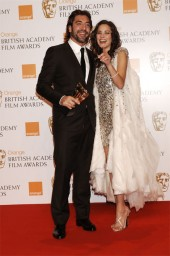 Javier Bardem, who collected the Supporting Actor award for his role in No Country For Old Men, with Marion Cotillard (pic: BAFTA / Richard Kendal)