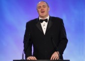 Comedian Dara O'Briain makes his opening speech at the 2010 BAFTA Video Games Awards (BAFTA/Brian Ritchie)