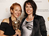Michele Clapton celebrates her Costume Design BAFTA for The Devil's Whore with Primeval star and award presenter Juliet Aubrey (BAFTA / Richard Kendal).