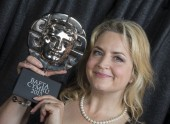 Ruth Jones with her BAFTA Cymru award after winning the writer award for Stella