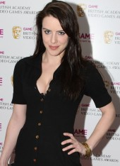 Michelle Ryan, star of Bionic Woman and Merlin, arrives at the AWards to present the Action category.