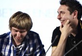 July 18: James Buckley and Blake Harrison on the Film Arena stage (Picture: Jonathan Birch)