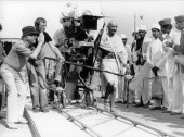 Producer/Director Richard Attenborough and Actor Ben Kingsley on the set of Gandhi (1982)