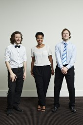 From left to right: Sam Coleman, Rienkje Attoh, Sam Hughes