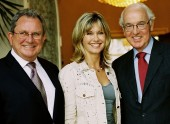 BAFTA Los Angeles Chairman Gary Dartnall, Olivia Newton John and British Consul General Peter Hunt.