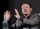BAFTA winning scriptwriter Simon Beaufoy for tittles including Slumdog Millionaire takes part in the BAFTA and BFI Screenwriters' Lecture Series. (Photography: Jay Brooks)