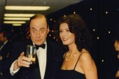 Welsh comedian Victor Spinetti and Welsh actress Catherine Zeta Jones at the 1992 BAFTA Cymru Awards.