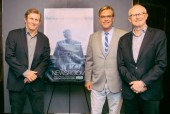 Moderator Chris Whipple, The Newsroom Creator and Writer Aaron Sorkin and BAFTA New York Chair Charles Tremayne