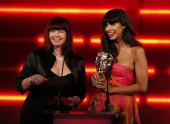 The T4 presenter and Ninja Theory's development chief present the BAFTA for Artistic Achievement. (Pic: BAFTA/Brian Ritchie)