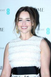 Emilia Clarke arrives at the BAFTA and Lancôme Nominees' Party at Kensington Palace