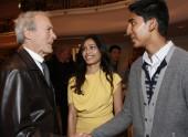 Clint Eastwood meets Slumdog Millionaire actors Frieda Pinto and Dev Patel