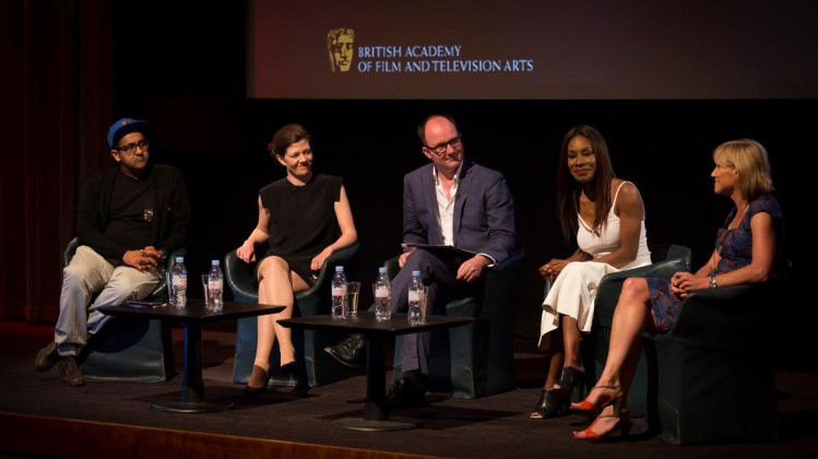 BAFTA Film Question Time at 195 Piccadilly on 21 July 2014. Panel, l-r: Atif Ghani - producer (Ill Manors, Festival), Isabel Davis - Head of International, British Film Institute, Chair: Ian Haydn Smith - Writer, critic and editor of the Curzon Magazine,