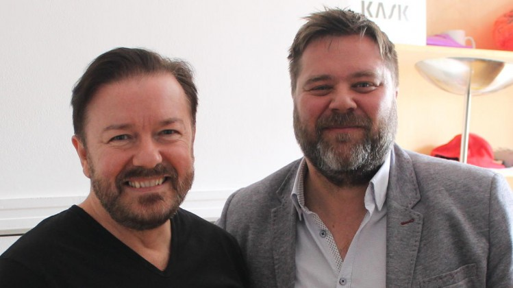 Chris Lunt and Ricky Gervais - Breakthrough Brits mentoring 2014