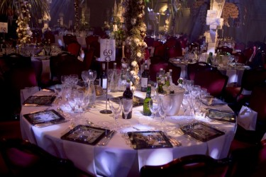 Grosvenor House table settings at the EE BAFTA Film Awards in 2014
