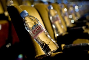 Evian water laid out for guests in the BAFTA Film Awards auditorium